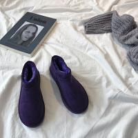 雪地靴女短筒2018新款冬季韩版短靴冬加绒保暖棉鞋加厚学生面包鞋