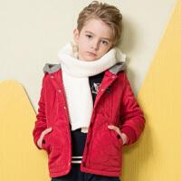 水孩儿souhait童装男童棉服保暖2018冬装新款儿童外套中大童时尚简洁棉服男AMD0835535