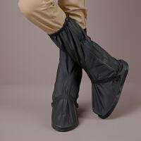 高筒时尚防雨鞋套 防水 防滑加厚底 加高 男女款骑车步行旅游水鞋 黑色 黑色