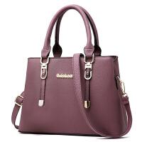 女士包包新款时尚大气单肩斜挎手提包女软皮中年妈妈包大容量 紫色 (收藏送钱包)