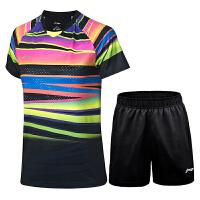 李宁新款运动短袖短裤男女款全英球迷版世锦大赛服版聚酯纤维羽毛球服上衣运动服套装