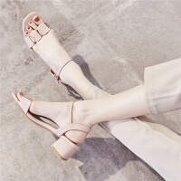 【掌柜推荐】ZHR2019夏新款凉鞋女鞋配裙子时尚粗跟学生仙女百搭中跟高跟鞋子
