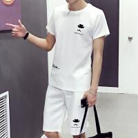 男士短袖T恤套装帽子印花短裤韩版休闲大码运动套装