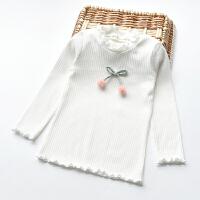 女童打底衫春秋薄款2-9岁儿童装宝宝修身弹力纯棉樱桃木耳长袖T恤