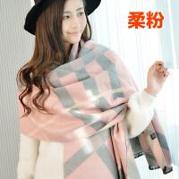 围巾女冬天韩版长款格子学生双面仿羊绒加厚百搭披肩两用围脖