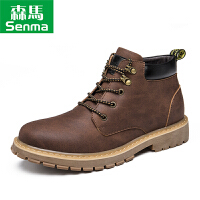 森马秋冬季男士英伦马丁靴工装靴靴子保暖短靴复古加绒男鞋高帮鞋