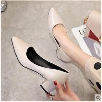新款粗跟单鞋中跟尖头浅口工作鞋韩版网红百搭气质高跟鞋