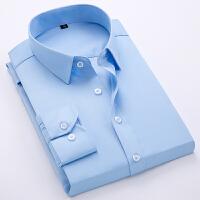 新款男士纯色商务衬衫帅气修身职业工装免烫