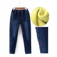 加肥加大码加绒牛仔裤女胖mm松紧腰高腰显瘦铅笔裤宽松长裤秋冬季