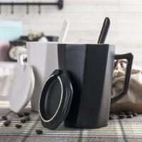 创意个性办公室马克杯简约情侣咖啡杯陶瓷杯带盖勺子牛奶喝水杯子