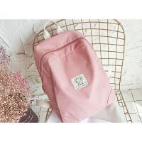 可爱背包女双肩包韩版2018新小清新纯色帆布书包女学生校园电脑包