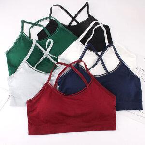 学生棉质抹胸交叉美背吊带彩色小背心裹胸式防走光运动内衣女文胸