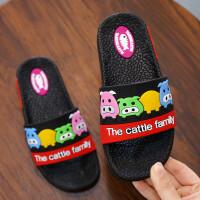 �和�拖鞋夏 男女童卡通可�鄯阑��底�鐾闲�小孩居家浴室拖鞋