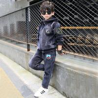 童装加绒秋冬男孩卫衣中大童两件套男童冬装新款套装儿童运动