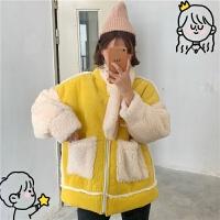 2018新款冬季韩版宽松灯芯绒复合仿羊羔毛加厚学生棉衣外套女 均码