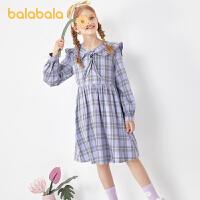 【3件4.5折:85.5】巴拉巴拉童装女童连衣裙儿童裙子春装女大童学院风格纹裙