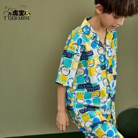 【3件2折:61.8元】小虎宝儿男童家居服套装纯棉2021新款儿童睡衣夏季中大童潮