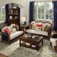 【618满200减100】斯贝斯 经典美式全实木真皮沙发 127G1欧式沙发真皮沙发美式