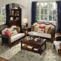 【1件3折 领券】美式乡村组合沙发实木布艺沙发 欧式沙发真皮沙发