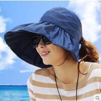 遮阳帽女网红同款时尚韩国可折叠无顶防晒帽子紫外线女士空顶帽沙滩太阳帽户外运动新品