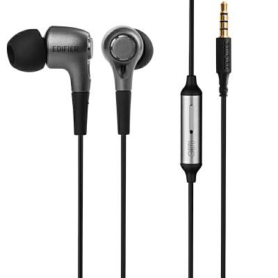 EDIFIER漫步者 H230P手机耳机入耳式线控带麦耳机黑色时尚 低失真 强劲低频 线控耳机