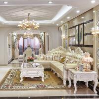 客厅大户型皮沙发欧式沙发转角L型大小户型实木雕花沙发客厅美式家具