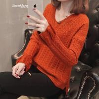女士V领毛衣女装春装2018新款韩版短款宽松套头打底衫外穿百搭潮