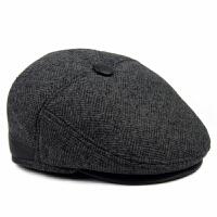 中老年帽子男士鸭舌帽毛呢前进帽冬季爸爸帽秋冬天保暖老人帽护耳 深灰色(建议拍大一码)