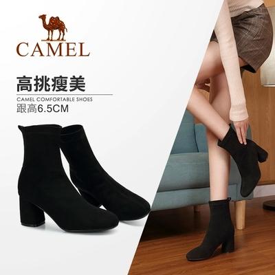 Camel/骆驼2018冬季新款 粗跟优雅时尚淑女摩登气质高跟中筒女靴