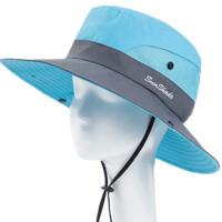 户外帽子女士夏天渔夫帽遮阳帽防晒帽太阳帽登山钓鱼帽沙滩帽