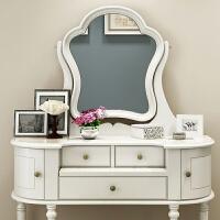 美式白色实木简约网红梳妆台欧式小户型卧室田园化妆桌1米 +妆凳 组装