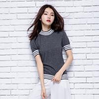 2018春季新款女士半高领纯山羊绒衫修身短款长袖针织套头毛衣条纹
