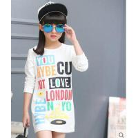 简约休闲百搭韩国女童儿童彩色英文印字母圆领长袖舒适柔软中长款T恤打底衫