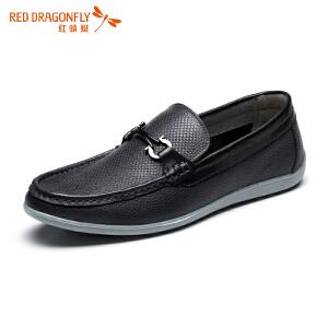 红蜻蜓男鞋夏季新款正品男士休闲皮鞋真皮透气软皮轻质鞋子男单鞋