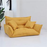 懒人沙发榻榻米可拆洗懒人沙发榻榻米折叠沙发双人日式多功能小户型沙发椅卧室懒人沙发 升级版黄色 送上楼 送两个抱枕