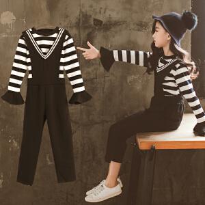 童装2018秋季新款女童条纹背带裤套装儿童长袖T恤+背带裤两件套