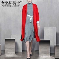 女巫2017冬装新款欧美长袖时尚红色圆领羊毛毛呢外套羊绒大衣女