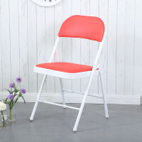 折叠椅子家用餐椅靠背椅办公椅会议椅培训椅电脑椅宿舍椅折叠凳子 白红 海绵钢板加厚款
