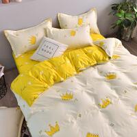 床上用品四件套网红款水洗棉被套单人床单学生宿舍三件套1.2m欧式 1.5m四件套(被套1.5*2.0m 默认送大浴巾