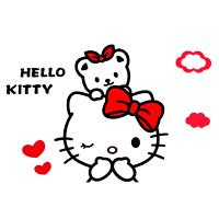kitty猫3d立体墙贴亚克力动漫贴画儿童房女孩卧室客厅卡通装饰贴