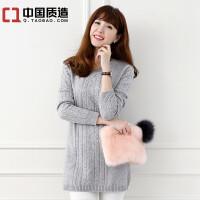 秋冬新款女装V领纯山羊绒衫中长款修身扭花打底套头加厚保暖毛衣