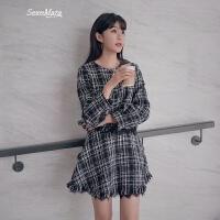 灯笼袖毛呢外套女短款韩版高腰显瘦半身裙时尚套装两件套 黑白格