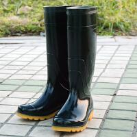 高筒雨鞋男士春秋新款防滑水鞋劳保农活作业钓鱼高帮套鞋雨靴 黑色