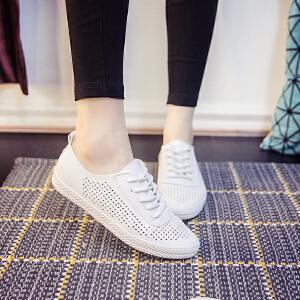 2018春夏小白鞋透气皮面帆布鞋女镂空平底韩版休闲单鞋系带低帮鞋