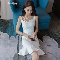 性感夜店小礼服2018夏季新款女装白色吊带荷叶边鱼尾包臀连衣裙夏 白色