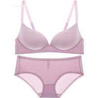 夏无痕无钢圈光面聚拢文胸套装收副乳加厚调整型女士内衣胸罩 粉色 文胸+内裤