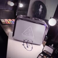 简约时尚3ce化妆包韩国大容量手提化妆箱防水护肤品收纳箱带镜子