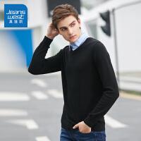 [2.5折到手价:36.5元,仅限12.4-5]真维斯毛衣男冬装新款男士纯棉V领纯色线衫韩版修身针织衫潮