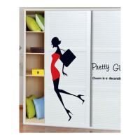 墙上贴画 可移除 衣柜贴纸贴画 装饰家具自粘欧式个性创意墙上卧室客厅柜子 性感女郎 中