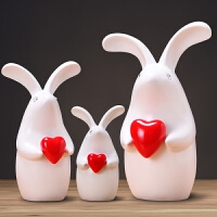 创意爱心兔子摆件简约现代家居客厅装饰品电视柜酒柜隔板搁板摆设